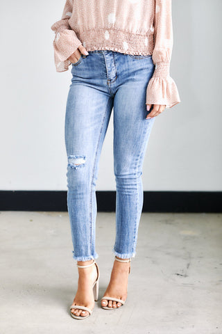 Kylie High Rise Button Fly Skinny Jean