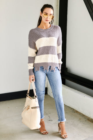 Aspen Striped Distressed Sweater
