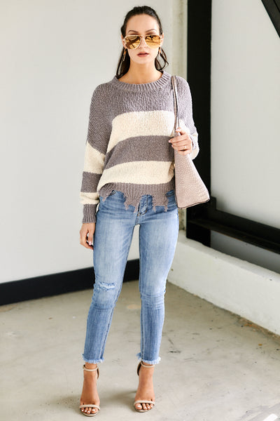 fab'rik - Aspen Striped Distressed Sweater image thumbnail