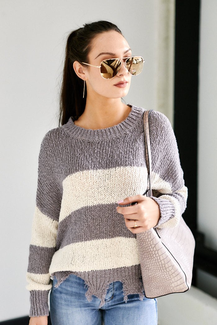 fab'rik - Aspen Striped Distressed Sweater ProductImage-13626607337530