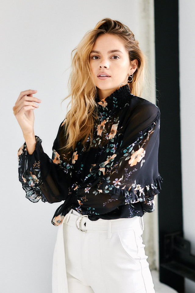 Luisa High Neck Floral Top
