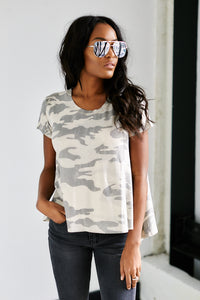 Perry Short Sleeve Camo Crew Neck Top