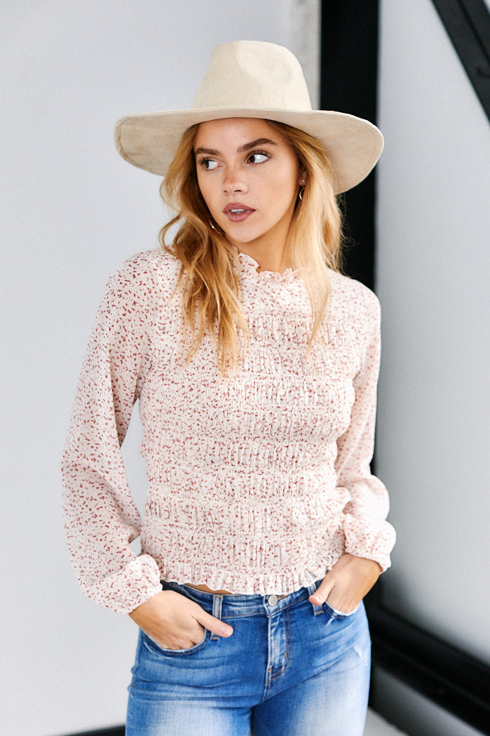 fab'rik - Pearson Spotted Long Sleeve Smocked Top ProductImage-13630037753914