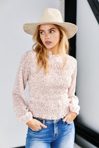 Pearson Spotted Long Sleeve Smocked Top