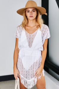 Seaside Lace Fringe Detail Cover Up