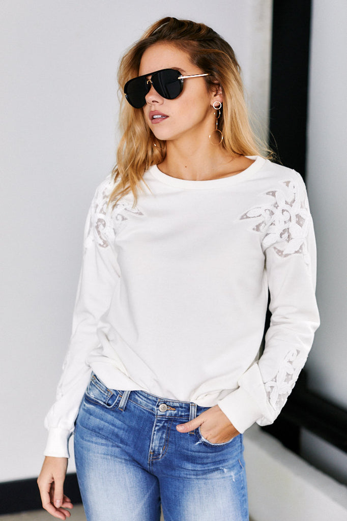 Maxwell Lace Cut Out Sweatshirt