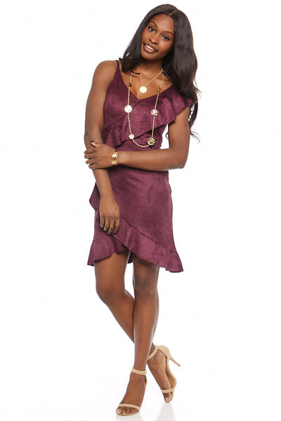 fab'rik - Melrose Suede Ruffled Mini Dress image thumbnail