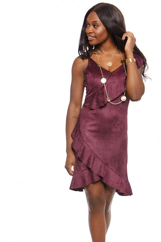 Melrose Suede Ruffled Mini Dress