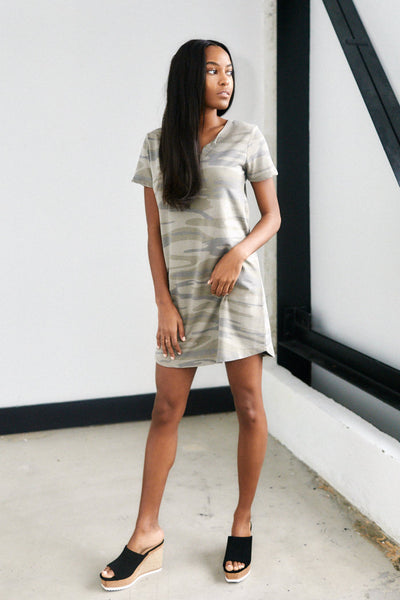 fab'rik - Z Supply Camo Split Neck Dress image thumbnail