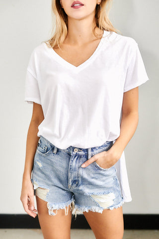 Blake High Rise Distressed Cut Off Denim Shorts