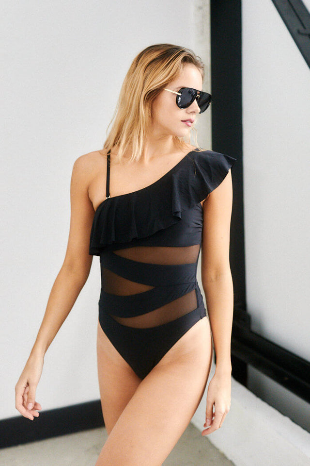 Half Moon One Shoulder One Piece