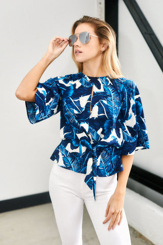 Evie Palm Print Top