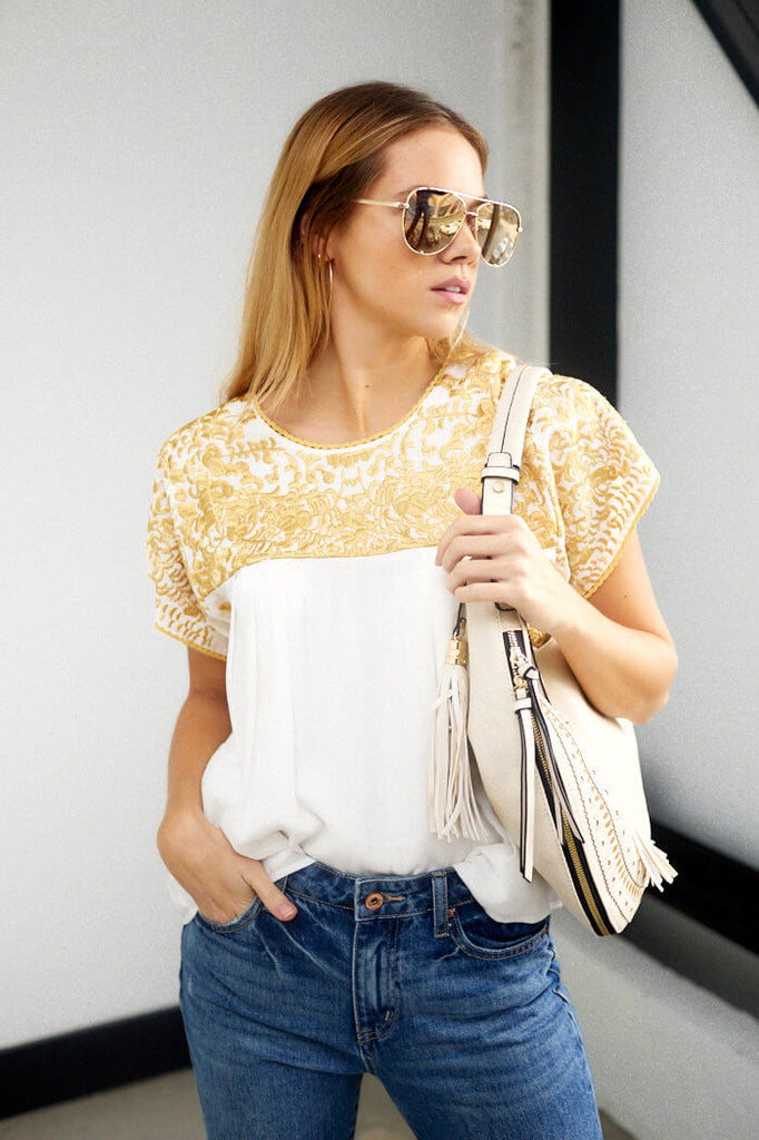 SALE - Greek Embroidered Top