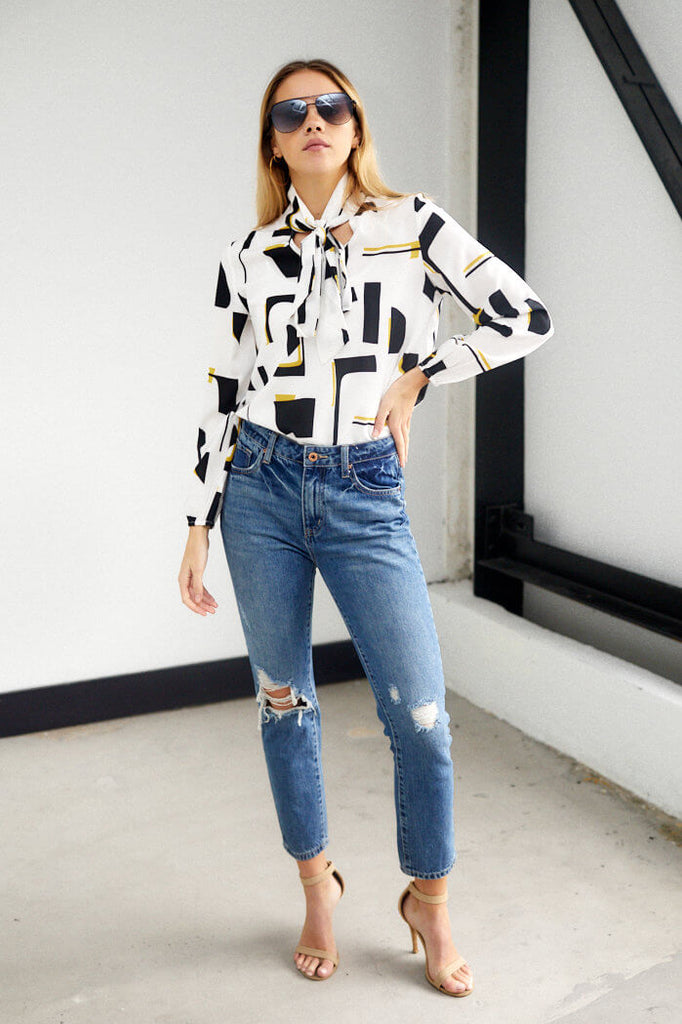 Samantha Long Sleeve Print Blouse