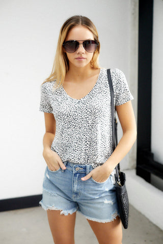 Z Supply Mini Leopard V-Neck Top