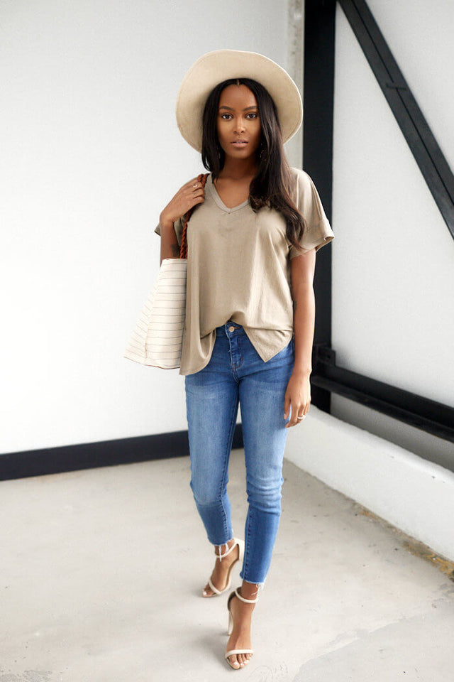 Landon Side Slit V Neck Tee
