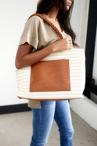 Bridgette Stripe Tote with Braided Handle
