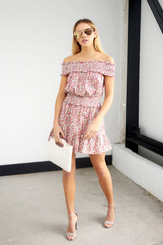 Myla Off Shoulder Floral Print Dress