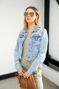 Hannah Distressed Denim Jacket