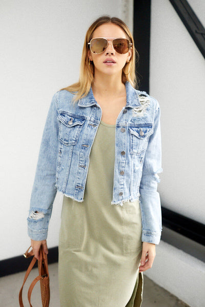 fab'rik - Hannah Distressed Denim Jacket image thumbnail