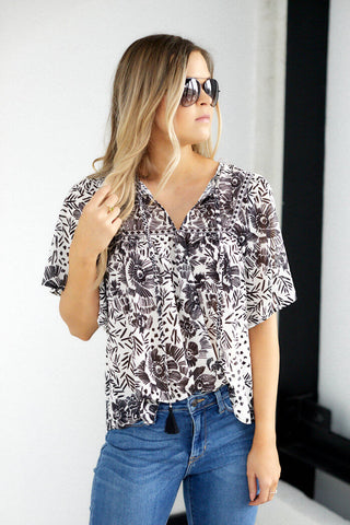 Dash Print Short Sleeve Top