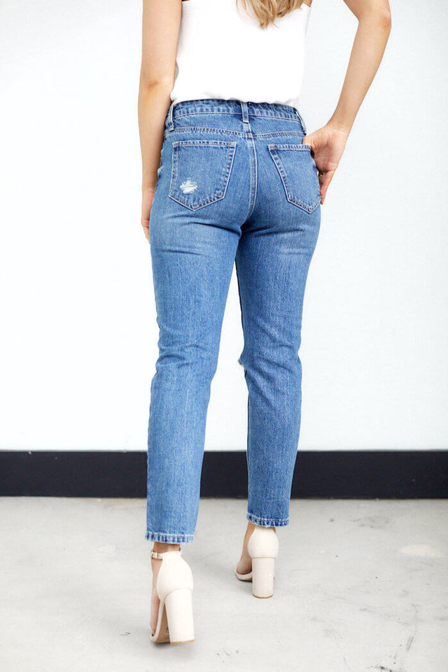 Zoe Distressed Straight Leg Jean