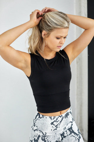 Bloom High Neck Sleeveless Crop Top