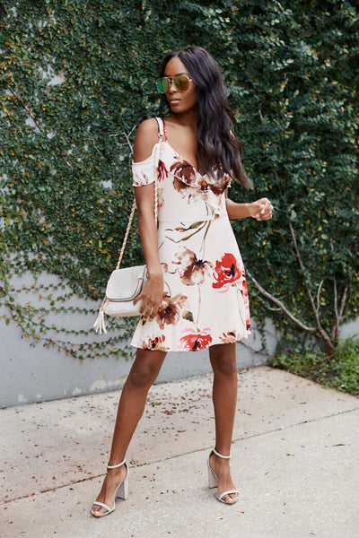 fab'rik - Sloane Floral Print Ruffle Detail Mini Dress image thumbnail