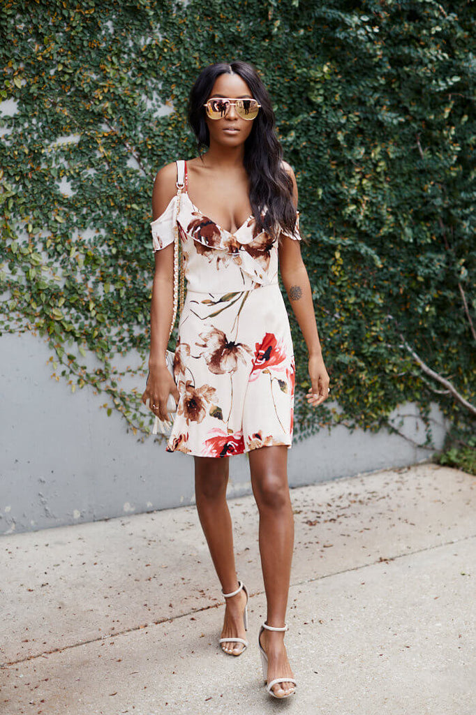 SALE - Sloane Floral Print Ruffle Detail Mini Dress