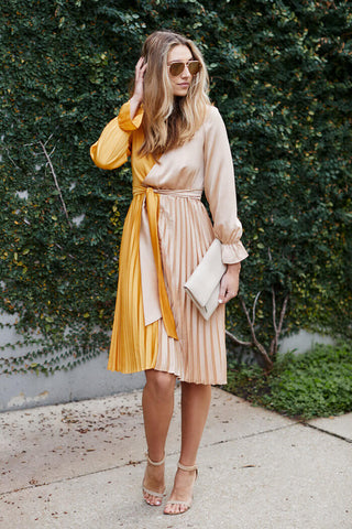 PreOrder Ailyn Pleated Two Tone Dress