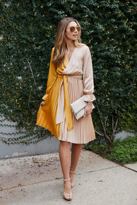Ailyn Pleated Two Tone Dress