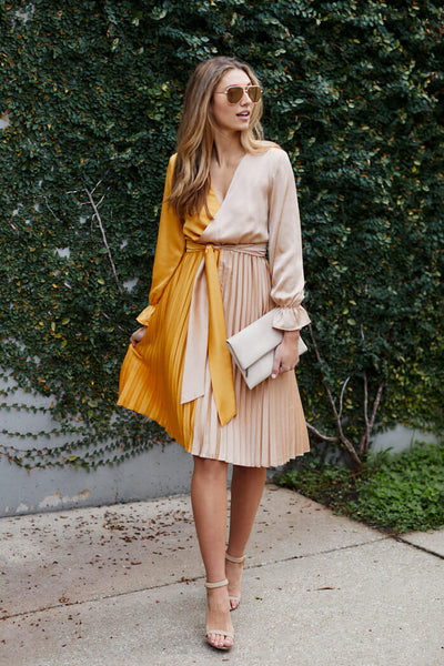 fab'rik - Ailyn Pleated Two Tone Dress image thumbnail