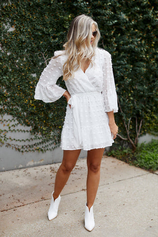 Crew Long Sleeve Pom Detail Dress