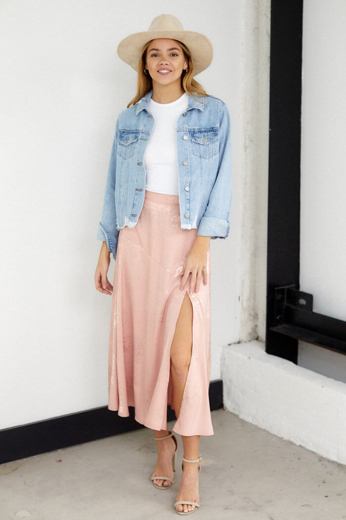 Dallas Floral Slit Midi Skirt
