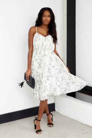 Princeton Pleated Floral Midi Dress