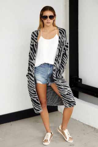 Briley Fuzzy Zebra Print Cardigan