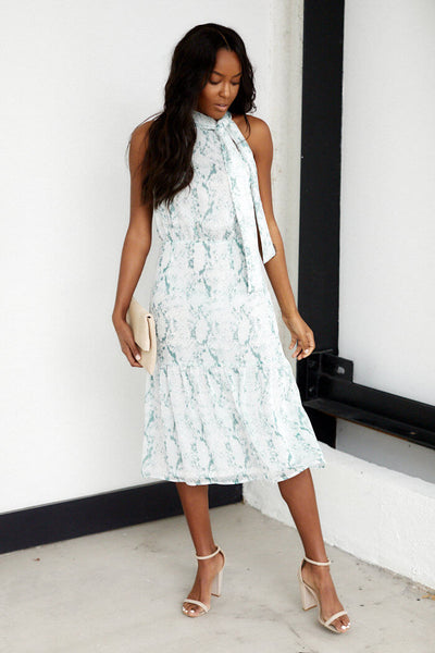 fab'rik - Wrigley High Neck Snake Print Midi Dress image thumbnail