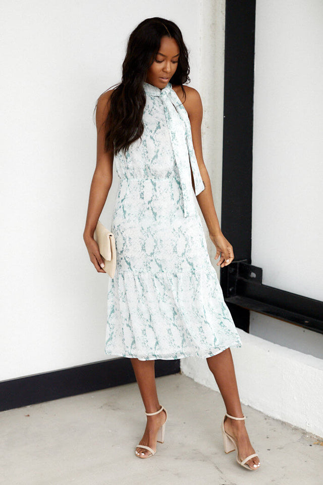 Wrigley High Neck Snake Print Midi Dress