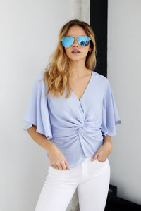 Moxie Twist Front Short Sleeve Blouse