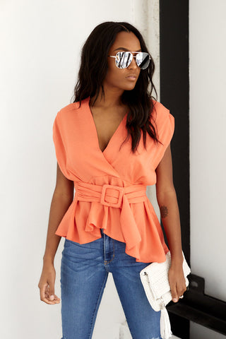 Rae Short Sleeve Belted Blouse