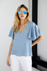 SALE - Florence Satin Ruffle Sleeve Top