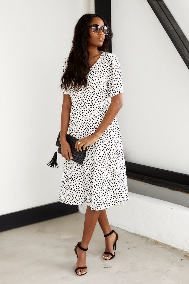June Short Sleeve Print Mini Dress