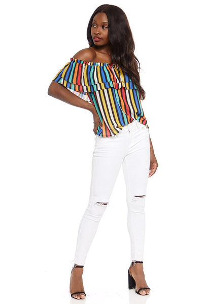 fab'rik - Tinsley Stripe Off the Shoulder Top image thumbnail