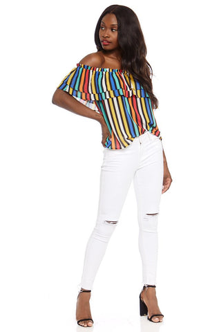 Tinsley Stripe Off the Shoulder Top