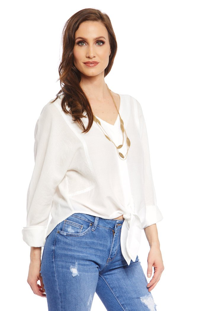 fab'rik - Astor Tie Front Blouse ProductImage-7637069692986