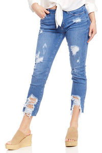 Just Black Distressed Straight Leg Denim