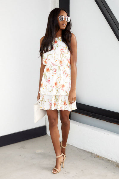 fab'rik - Kai Sleeveless Floral Ruffle Dress image thumbnail