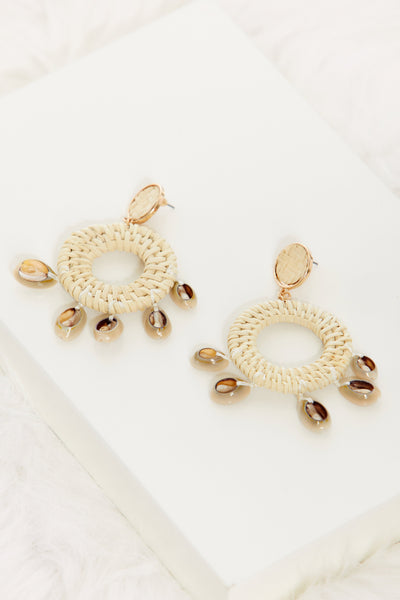 fab'rik - Shell & Rattan Circle Earrings image thumbnail