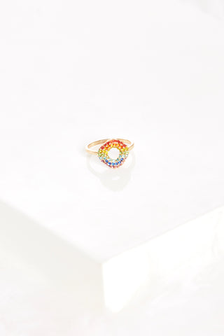 Rainbow Crystal Circle Ring