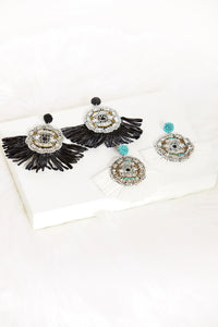 fab'rik - Raffia Trim Evil Eye Earrings ProductImage-7744068321338